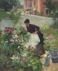 Gardening artwork by victor gabriel gilbert oil painting & art Gabriel, Garden Painting, Garden Art, Illustration, Victorian Art, Art Themes, Art For Art Sake, Flower Market, French Artists