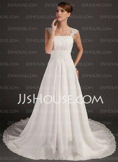 Vestidos princesa/ Formato A Decote quadrado Cauda catedral Chiffon Vestido de noiva com Pregueado laço Bordado fecho de correr (002015564)