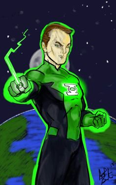 Green Lantern created with tablet.