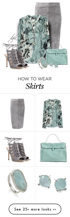 """Brunello Cucinelli Suede Side Zip Pencil Skirt"" by dgia on Polyvore"