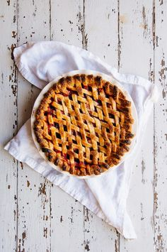 raspberry rhubarb pie with lemon buttermilk ice cream