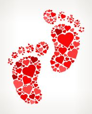 Baby foot Prints Red Hearts Love Pattern vector art illustration