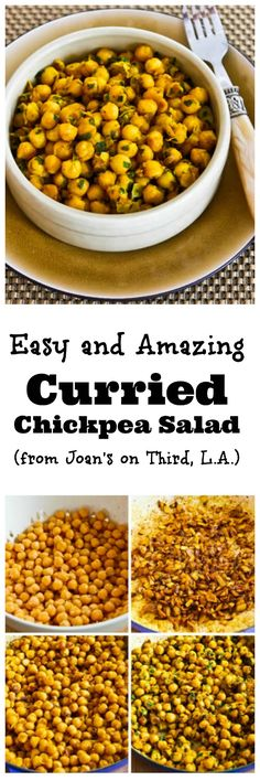 Easy and Amazing Curried Chickpea Salad (from Joan's on Third, Los Angeles.)  This salad that starts with a can of chickpeas makes a perfect lunch or easy side dish any time of year.   (Add more veggies like olives, peppers, or cauliflower to make this a lower-carb salad if you prefer.)  [from KalynsKitchen.com]