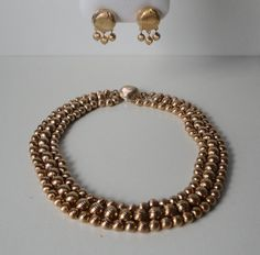 SARAH COV.3 Strands  Gold tone Metal Bead Necklace and Earrings Set. Mint by Cosasraras on Etsy