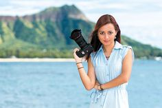 Photographer Dallas Nagata White at Fort DeRussy Beach Park, which is one of her favorite spots to shoot