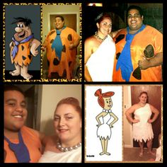 """(Fred Flinstone) Ken's costume materials and cost: Blue tie cut from a Men's 3X t-shirt from Thirfttown: $1.99, orange bed sheet from Goodwill, cut like a pancho and sewn up the sides: $3.99, black sharpie markers to draw black spots: donated Total cost: $5.98 (Wilma Flintstone) Terri's costume materials and cost: Single white dress from Thrifttown $7.99 *** BUT IT WAS """"White tag day"""" and it was 50% off! I cut off one strap, adjusted and sewed the dress to fit Wilma's style Total Cost: $4.00"""