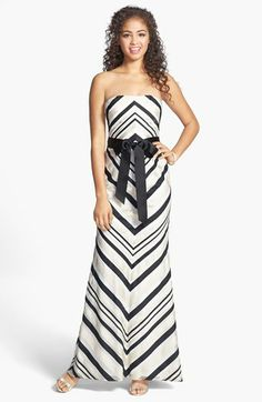 Adrianna Papell Strapless Stripe Gown available at #Nordstrom