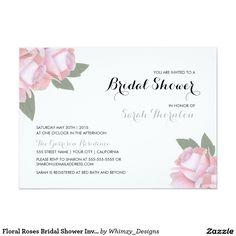"Floral Roses Bridal Shower Invitation 5"" X 7"" Invitation Card"