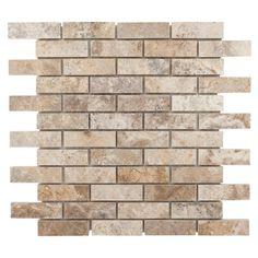 Camila Polished Brick Travertine Mosaic - 12 x 12 - 932100627 Basement Bar Plans, Cabin Bathrooms, Master Bedroom Bathroom, Floor Decor, Stone Flooring, Stone Tiles, Kitchen Updates, Kitchen Ideas, Home Improvement Projects