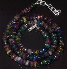 """84CRTS 5to8MM 18"""" BLACK ETHIOPIAN OPAL RONDELLE FACETED BEADS NECKLACE OBI3185 #OPALBEADSINDIA"""
