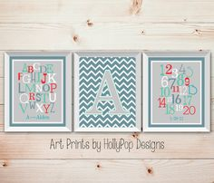 Baby Boy Nursery Wall Decor-Set of 3 Art Prints Kids Room-Alphabet ABC Number Typography-Chevron Decor-Monogram Prints-Baby Shower Gift, $37.00