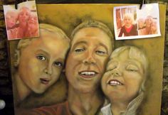 Selfie!....father with daughters selfie ..on large canvas