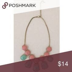 Mint and Coral Statement Necklace Gold-toned statement necklace from Francesca's with pretty pink and green gemstones. Clasp closure and adjustable length. Only worn a couple of times! Francesca's Collections Jewelry Necklaces
