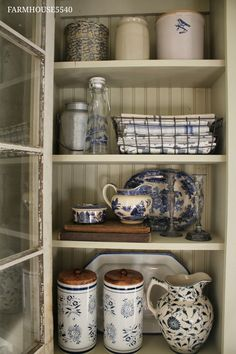 FARMHOUSE 5540: A New Cupboard With An Old Window.  Blue and white dishes, crocks, linens.  <3