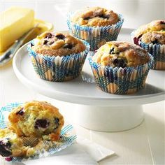 Aunt Betty's Blueberry Muffins Recipe -My Aunt Betty bakes many times each Christmas, but I look forward to these mouthwatering muffins the most. She gives me enough so that I can freeze and enjoy them for weeks. —Sheila Raleigh, Kechi, Kansas