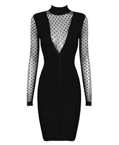 Montecarlo Black Mesh Bandage Dress
