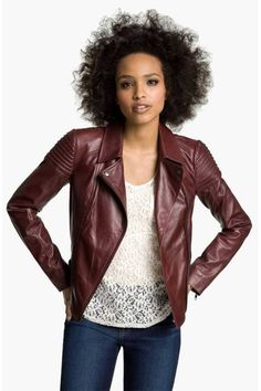 This is probably the coolest leather jacket I've seen in a while... from the color, to the fit, to the shoulder detailing.