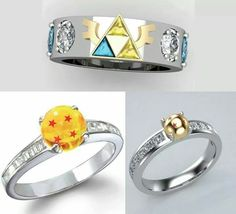 Inspired by Dragon Ball Z diamond engagement ring in 14k yellow