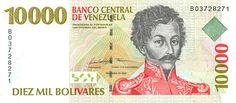 Pieza bbcv10000bs-aa01-b8 (Anverso). Billete del Banco Central de Venezuela. 10000 Bolívares. Diseño A, Tipo A. Fecha Febrero 10 1998. Serie B8