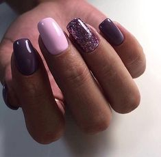 50 Trendy Nail Art Designs to Inspire Your Fall Mood,Females always want to seem excellent on any year, despite of the chilly winter. Fall nails concepts are specifically what Glitter Gel Polish, Glitter Nail Art, Purple Nail Designs, Nail Art Designs, Trendy Nail Art, Purple Nails, Purple Art, Beautiful Nail Designs, Holiday Nails