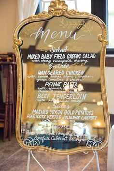 Featured Photographer: Willow Noavi Photography; Creative gold wedding reception menu decor