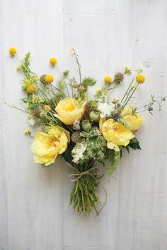 "New-season blooms deserve to have their arrival heralded with a pretty posy, especially when peonies are flowering. ""As a photographer Yellow Wedding Flowers, Flowers In Hair, Yellow Flowers, Spring Flowers, Wild Flowers, Light Yellow Weddings, Exotic Flowers, Flowers Garden, Poppy Bouquet"