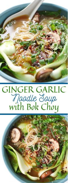 Ginger Garlic Noodle Soup with Bok Choy is a nutritious, ameliorating, and influenza battling twenty-minute formula made with a veggie lover stock, … de sopa vegetariana vegetariana saludable Soup Recipes, Vegetarian Recipes, Dinner Recipes, Cooking Recipes, Healthy Recipes, Noodle Recipes, Healthy Soup, Vegetarian Noodle Soup, Vegan Vegetarian