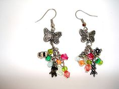 Beaded earrings with butterflies by seragun on Etsy