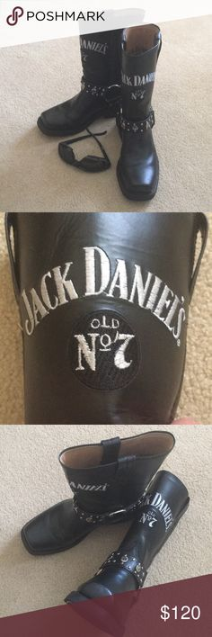 Jack Daniels Motorcycle Boots Official Jack Daniels leather motorcycle boots size 6.5 NWT silver metal details.  Cute to wear with leggings, jeans, shorts or dress for a sassy edge.  I bought two pair of these and am still wearing other pair.   They remind me of my Harley Davidson boots. Jack Daniels Old No 7 Shoes Combat & Moto Boots
