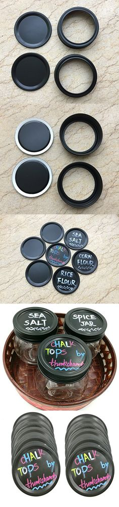 Aluminum Bands/Rings with Reusable Chalkboard Lid Sets Black Rust Proof for Mason Jars (2 Pack, Regular Mouth )