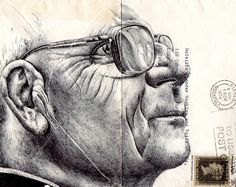 New Portraits Drawn on Vintage Envelopes by Mark Powell portraits drawing