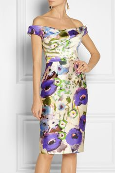 Lela Rose|Floral-print satin dress