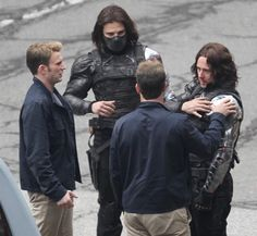 Sebastian and Chris with their stunt doubles