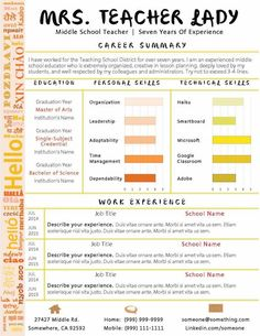 autumn colors teacher resume make your cover letter and resume pop with this beautiful template - Resume Template Teacher