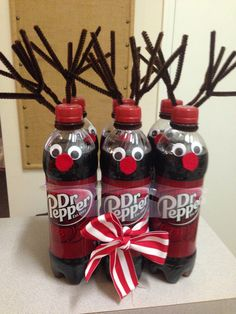 Secret Santa Gift - Dr. Pepper Reindeer.  Super cute and extremely easy to make without spending a lot of money.                                                                                                                                                                                 More