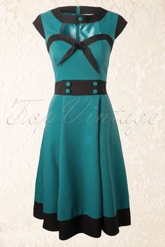 Banned - 50s Betty Swing Dress in Petrol Blue