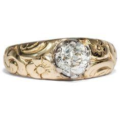 Jugendstil um 1910: Antiker Diamant Ring, 1,04 ct Solitär in 585 Gold Einkaräter