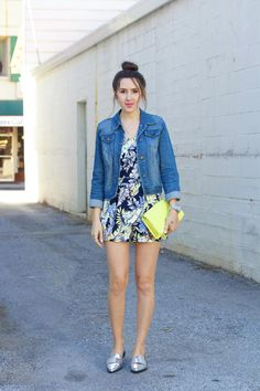 floral-romper, silver-loafers, yellow-clutch, denim-jacket