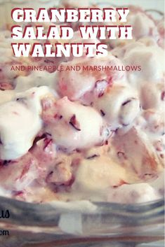 One of our favorite holiday recipes is Cranberry Walnut Salad. A Cranberry Ambrosia Salad variation that is easy and can be served as a dessert or side dish Thanksgiving Recipes, Fall Recipes, My Recipes, Holiday Recipes, Favorite Recipes, Christmas Recipes, Drink Recipes, Christmas Ideas, Dessert Recipes