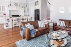 kitchen layout for renovation Homes - Specialist Brisbane Builder Brown And Cream Living Room, Brown Couch Living Room, Big Living Rooms, Coastal Living Rooms, Home Living Room, Living Room Decor, Condo Living, Living Area, Brown Couch Decor
