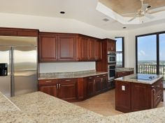 There is a large gourmet kitchen with island.  www.mysanibelrealestate.com