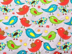 Small Birds 100 COTTON Prints kids crafts by TheFabricShopUK, £7.99