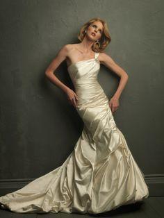 Satin One-Shoulder Neckline Delicately Gathered Bodice A-line Wedding Dress