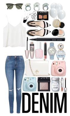 """""""Denim! #130"""" by lauren-yarrow ❤ liked on Polyvore featuring Monki, Topshop, H&M, Christian Dior, Ray-Ban, Zara, GUESS, Marc Jacobs, MAC Cosmetics and NARS Cosmetics"""