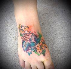 #watercolortattoo #birdhousetattoo #tattoo  Done by @brittanyarizona