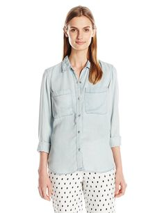 Calvin Klein Jeans Women's Garment Dyed Long Sleeve Shirt >>> Remarkable product available now. : Fashion