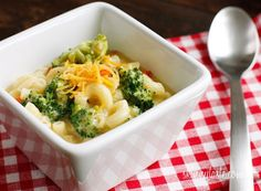 Skinny Macaroni and Cheese Soup with Broccoli - A great way to sneak some veggies into those picky tummies while enjoying a tasty warm bowl of soup.