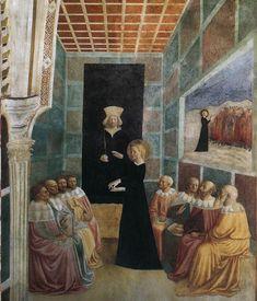Masolino ~Dispuut van de heilige Catherina ~ Taferelen uit het leven van de heilige Catherina ~ ca. 1425-1431 ~ Fresco ~ Capella Castiglione, San Clemente, Rome