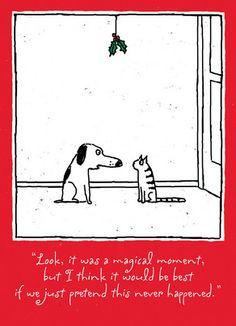 Dog and Cat Mistletoe 5x7 Folded Card