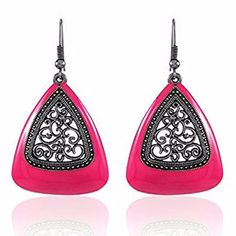 7ec207ed1 Efulgenz Indian Bollywood Oxidised Ethnic Silver Plated Stylish Pink Fancy  Party Wear Clip on Earrings Jewellery for Girls